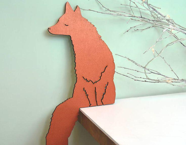 Copper Fox Shelf Corner Decoration