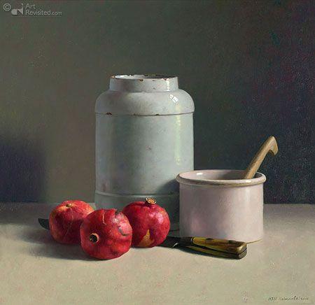 Witte voorwerpen met granaatappels by Henk Helmantel