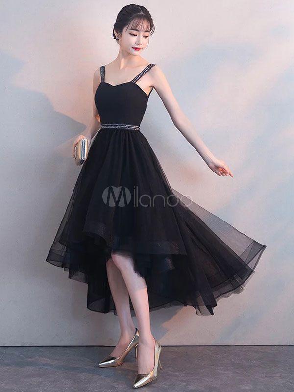 9e94deaee94b Black Prom Dresses High Low Straps Beaded Sash Tulle Cute Graduation Dress
