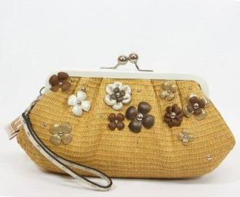 Coach Natural Straw Flower Clutch Large Wristlet Kisslock Bag