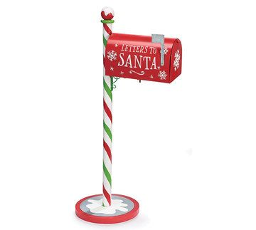 """Sometimes mail just gets to Santa faster when it's put in a magical, special mailbox! Use this Mailbox Standing Christmas Decoration as a prop in your home to add a little fun! It features a round base and a colorful pole with a shiny red mailbox on top! Put your letters in and I can guarantee that they will get to Santa faster then your regular post. Made by Burton and Burton. Made of Metal and Wood. Dimensions: 36 1/2""""H X 19 1/2""""W X 11 3/4""""D. Item #: 973148..."""