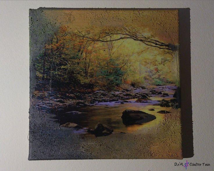 -SUNSET LAKE -Decoupage technique on canvas/ photo print/ modeling paste/ acrylic paint -Measures: 20x20 cm  https://www.etsy.com/listing/213095102/lake-decoupage-canvas-warm-colours?ref=shop_home_active_13