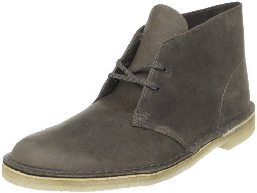 $72, Grey Desert Boots: Clarks Originals Desert Boot. Sold by Amazon.com. Click for more info: https://lookastic.com/men/shop_items/10498/redirect