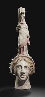 A Canosan pottery figural vase, Apulia, ca. 3rd century BCE