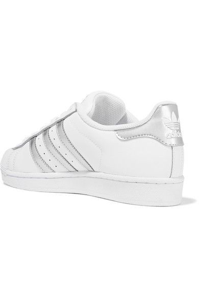adidas Originals - Superstar Metallic-trimmed Leather Sneakers - White - US9