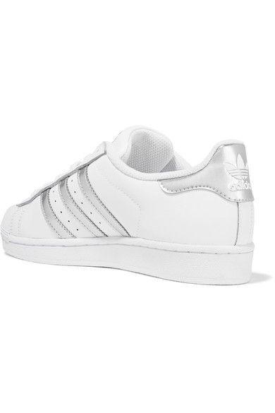 adidas Originals - Superstar Metallic-trimmed Leather Sneakers - White - US9