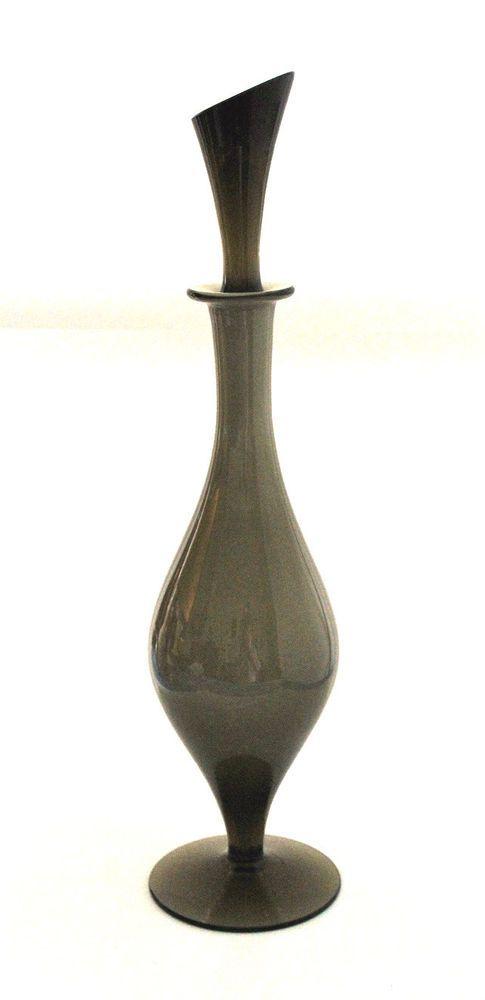 Retro Scandinavian Style Cased Smokey Grey Art Glass