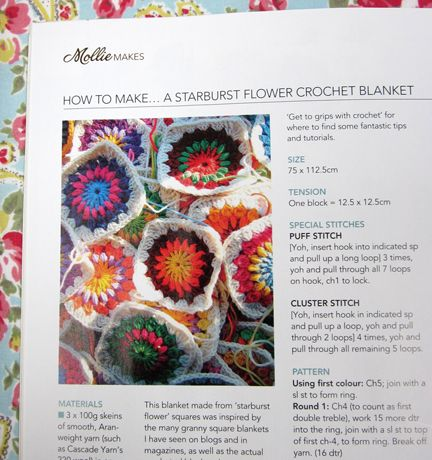 Mollie Flower Crochet Blanket Pattern : Mollie Makes Jane Brockets Starburst Flower Crochet ...