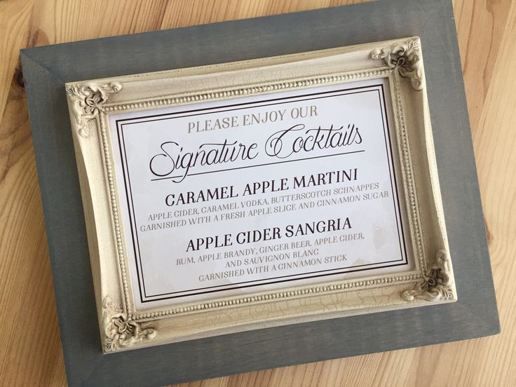 Signature drink sign for our rustic chic woodland wedding. Cocktails include caramel apple martini and apple cider sangria for our cozy fall wedding. The main text is chocolate brown and the background is a light brown watercolor texture. I made two of these and had them displayed on each of the bars in our reception venue. Need help designing something like this? Just ask! Contact me at aliciajacobs@aliciacandraw.com