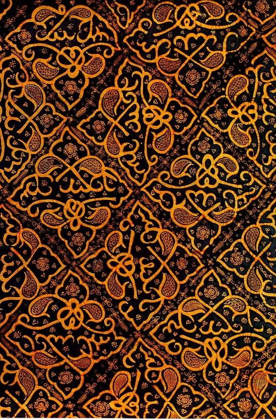 """Ceplok"" a hand-drawn batik shawl by an unknown artist, Palembang, South Sumatra, 1925. Vegetable-dyed cotton"
