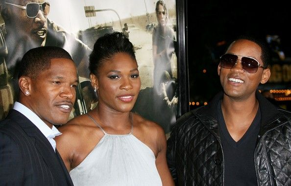 """(L-R) Actor Jamie Foxx, Serena Williams and actor Will Smith attend 'The Kingdom' film premiere at the Mann's Village Westwood theatre on September 17, 2007 in Los Angeles, California. - Universal Pictures' Premiere Of """"The Kingdom"""" - Arrivals"""