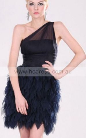A-line One Shoulder Knee-length Organza Natural Formal Dresses gt3430--Hodress