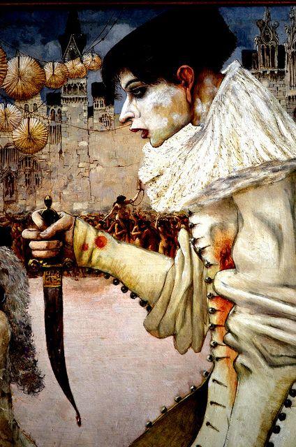 1906 - Gustav Adolf Mossa, Pierrot goes away (detail)