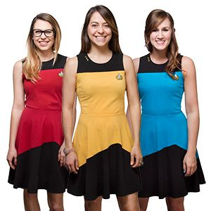 We think this Star Trek TNG Starfleet Dress is a nice change of pace from the standard Starfleet issue. Choose Blue (Sciences), Gold (Operations), or Red (Command).