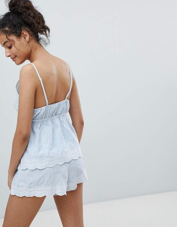 54dc597fe7 New Look Woven Stripe Broderie Cami And Short Pajama Set #Broderie#Stripe #Woven