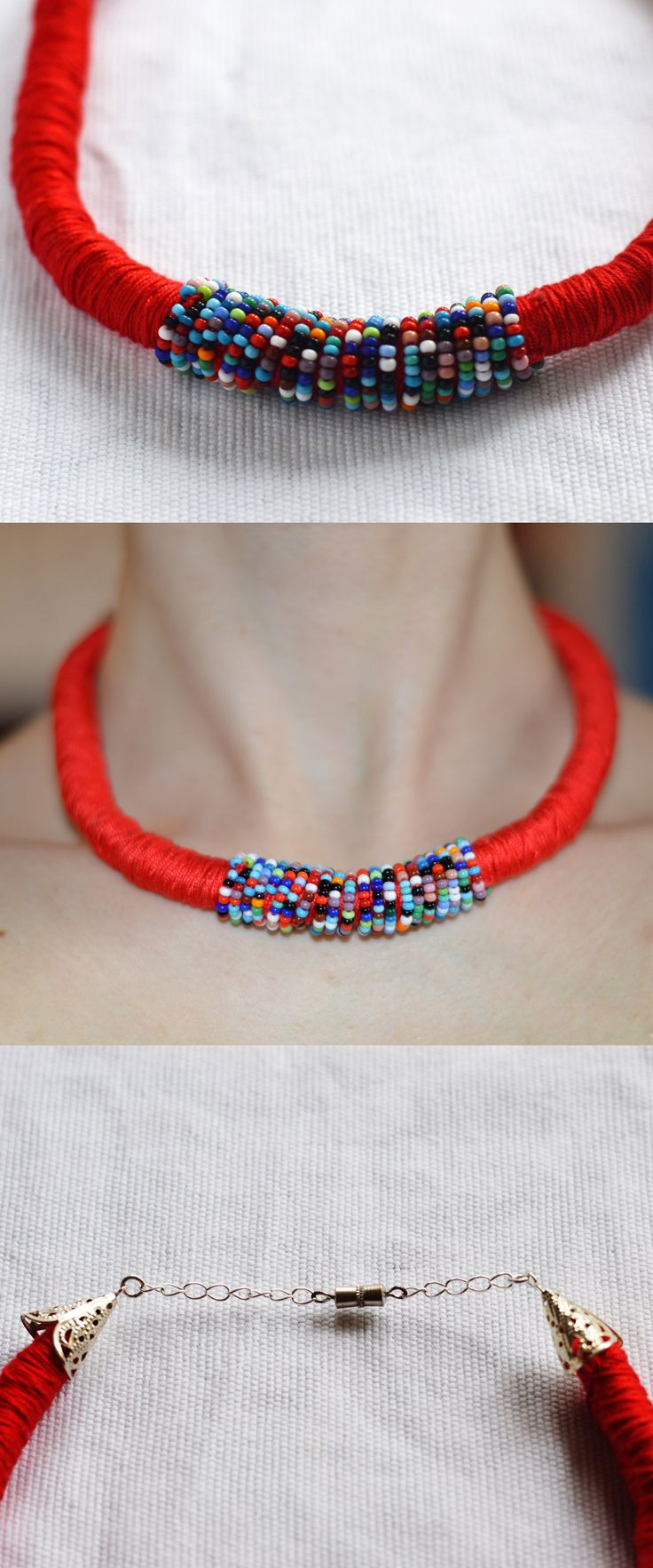 handmade textile&beaded red necklace