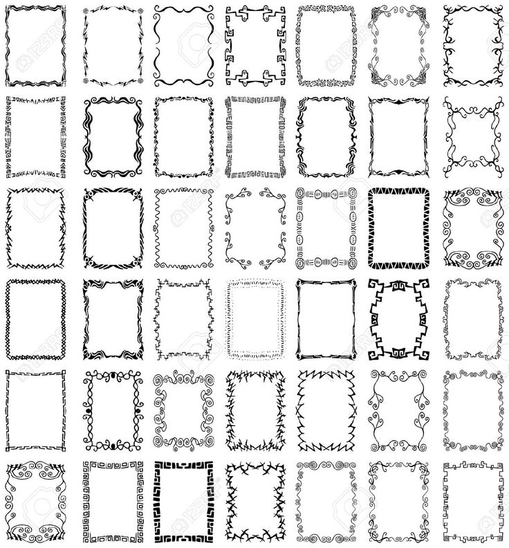 A collection of over 40 unique, hand-drawn borders and frames design elements