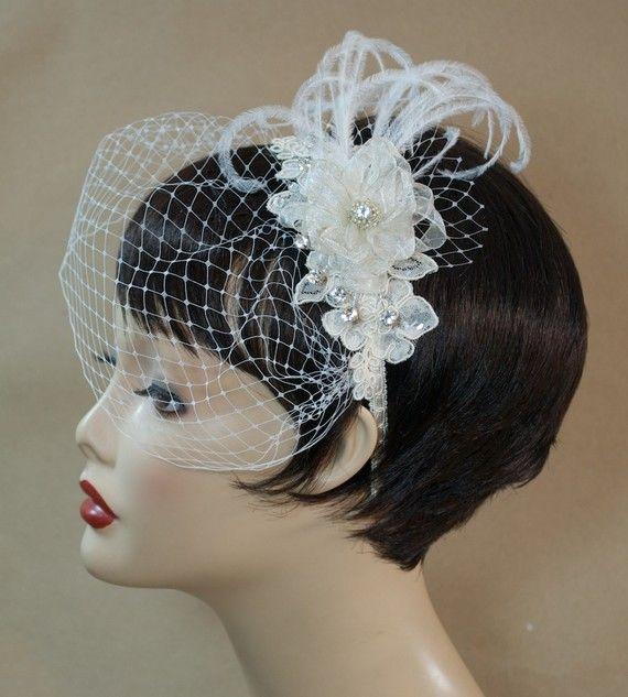 Rhinestone Ivory Celia Bridal Headpiece with by hemsandbustles, $70.00 Price aside, I like the way it looks in the short hair!