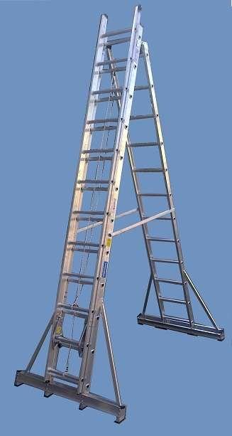 Escalera Aluminio Reforzada Tijera con Extensión Altura 6.30 mts en 3 tramos de 12 esc http://floresta.clasiar.com/escalera-aluminio-reforzada-tijera-con-extension-altura-630-id-228790