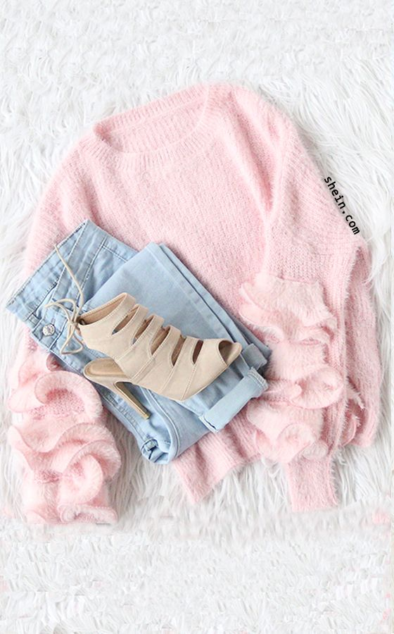 Cozy fall style-Pink Drop Shoulder Ruffle Trim Fuzzy Sweater Outfit.