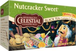 "Nutcracker Sweet - I love this tea! It doesn't really try to lure you in with false pretenses of baked goods. It tastes exactly like the box's description, ""...simple blend of fine black teas made more festive with creamy, nutty vanilla and just a pinch of cinnamon..."" Yum."