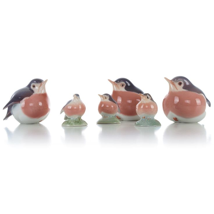 Royal Copenhagen figurines - set of six Robins - all are Grade A. Danish porcelain. Set of six porcelain birds in pristine condition! by DanishVintageDesigns on Etsy