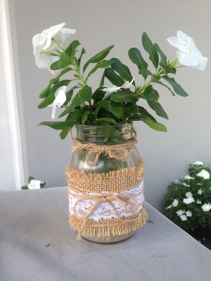 Handmade burlap and lace mason jar - perfect for weddings! Made by Sassy Creative Design