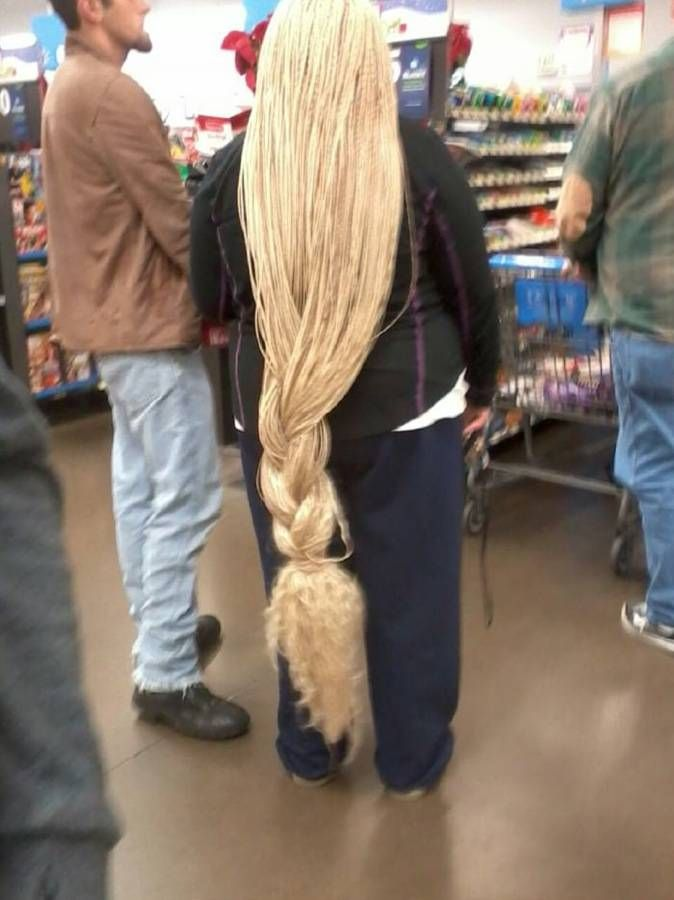 Rapunzel waiting in line at Walmart - Funny Pictures at Walmart...