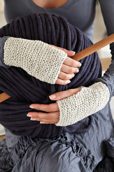 Fingerless mittens. 5mm knitting needles and Vinni's Bambini DK wool (4 ply?). Cast on 30 stitches, work 50 rows and cast off. Sew the side edges together leaving an opening for the thumb.