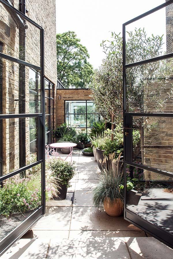 courtyard garden, black steel French doors, by Red Squirrel Architects