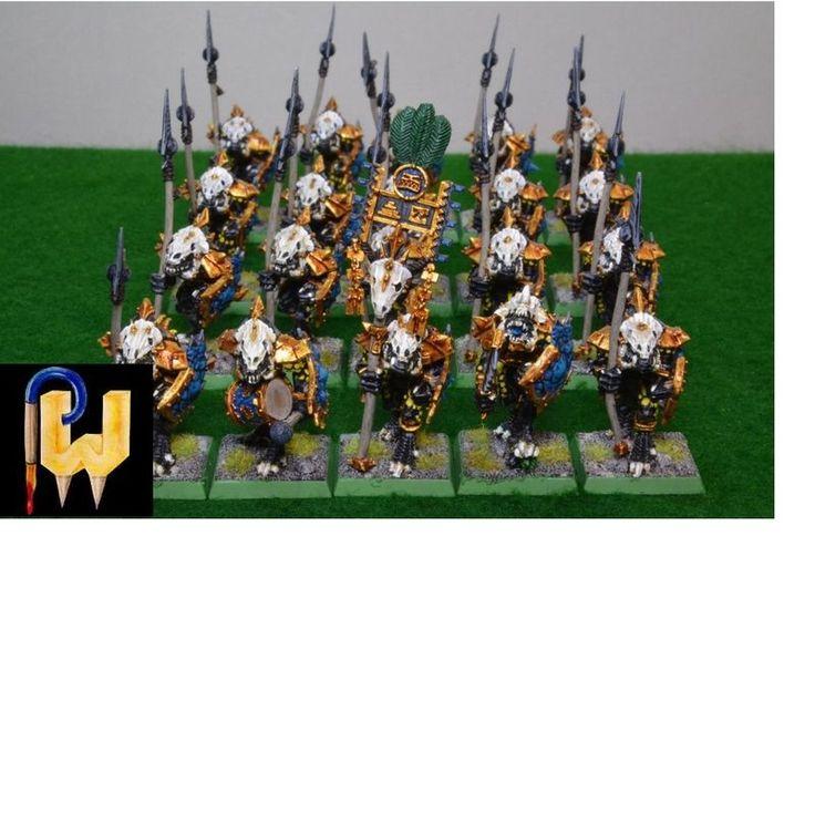 Warhammer Army AOS Seraphon Lizardmen Metal Saurus Temple Guard x 20 Painted