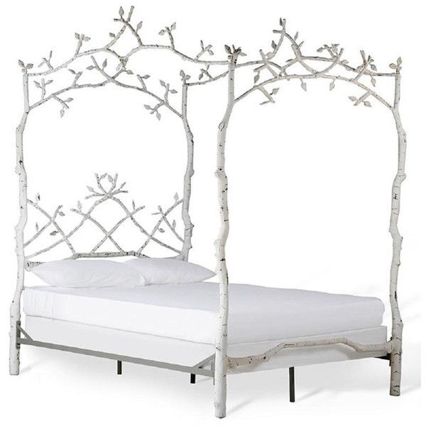 Corsican White Iron Mature Trees Queen Bed Frame (£6,155) ❤ liked on Polyvore featuring home, furniture, beds, bed, iron bed, white furniture, queen bed, white bed and queen furniture