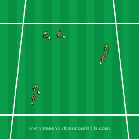 This U7 soccer drill is called Truck & Trailer.