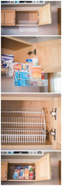 Super-simple medicine cabinet organization with a pull-down spice rack.