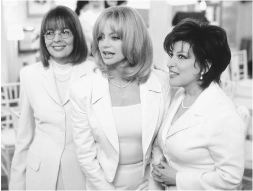 Goldie Hawn (center) with Diane Keaton and Bette Midler (right) in                                                      The First Wives Club