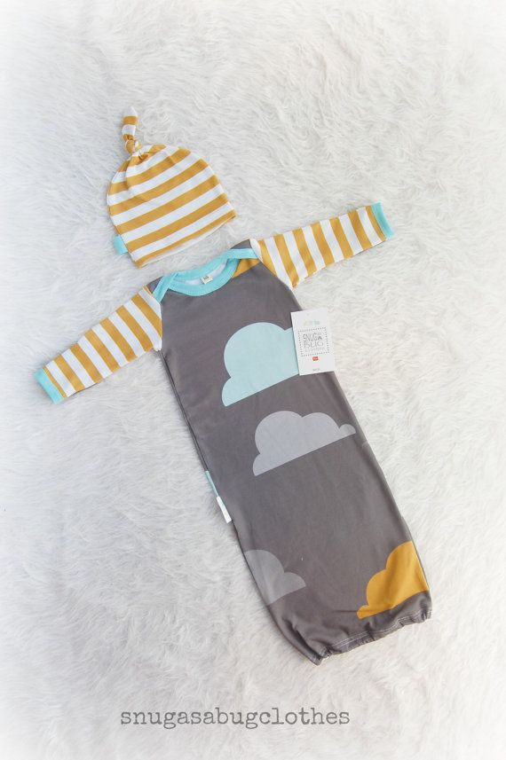 Whimsical Clouds Mustard Stripe Baby Boy Gown and Hat Infant Newborn Gift Set