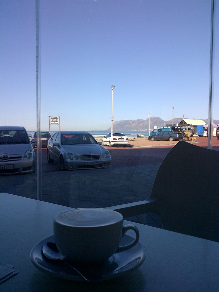 Cape of Good Hope in far distance, from Knead Bakery Muizenberg, Cape Town