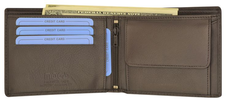 Moga Handmade Genuine Leather Mens Bifold Wallet with Coin Pouch 91013 (C)