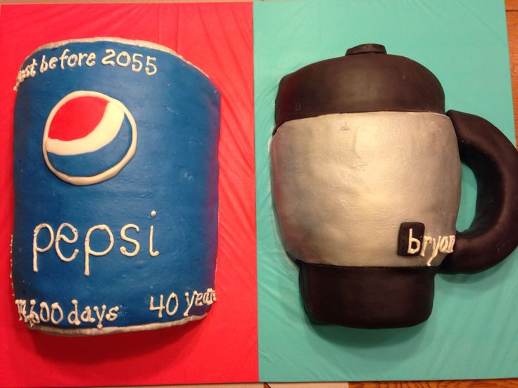 Pepsi can cake and bubba cup cake for a friends 40th