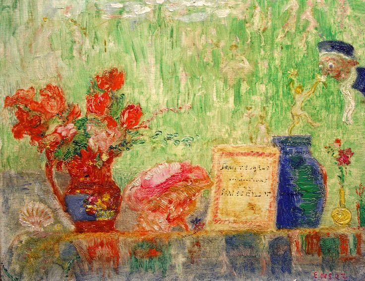 James Ensor (1860-1949) Stilleven met boek van Jean Teugels, 1938 Still life with book of Jean Teugels Mu.ZEE
