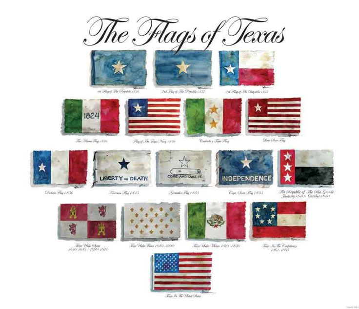 Posters - Historic Flags of Texas, The Flags of Texas