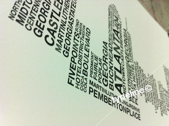Atlanta Skyline  Georgia City Skyline  Typography  by typeline, $27.00