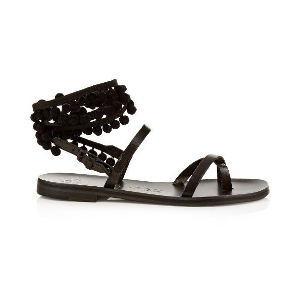 Álvaro Anna pompom-embellished leather sandals (640 BRL) ❤ liked on Polyvore featuring shoes, sandals, black, black shoes, pom pom gladiator sandals, pom pom sandals, black leather shoes and bohemian sandals