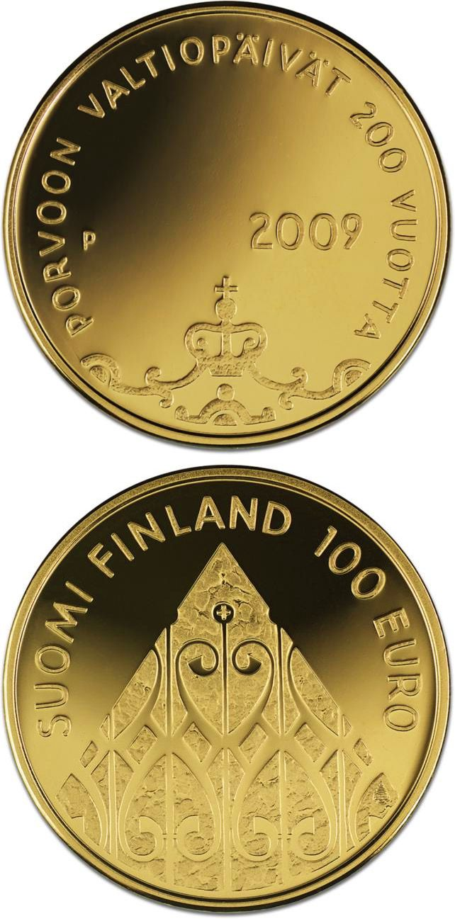 100 euro: The Diet of Porvoo 200 years.Country: Finland Mintage year: 2009 Face value: 100 euro Diameter: 22.00 mm Weight: 5.65 g Alloy: Gold Quality: Proof Mintage: 7,500 pc proof Design: Reijo Paavilainen