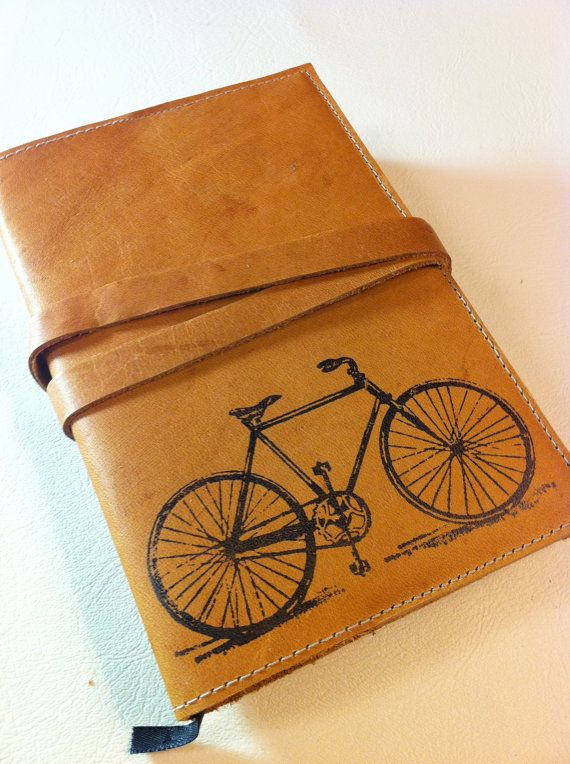 Leather Journal - Leather Sketchbook Cover - Personalize - Monogram - Bike