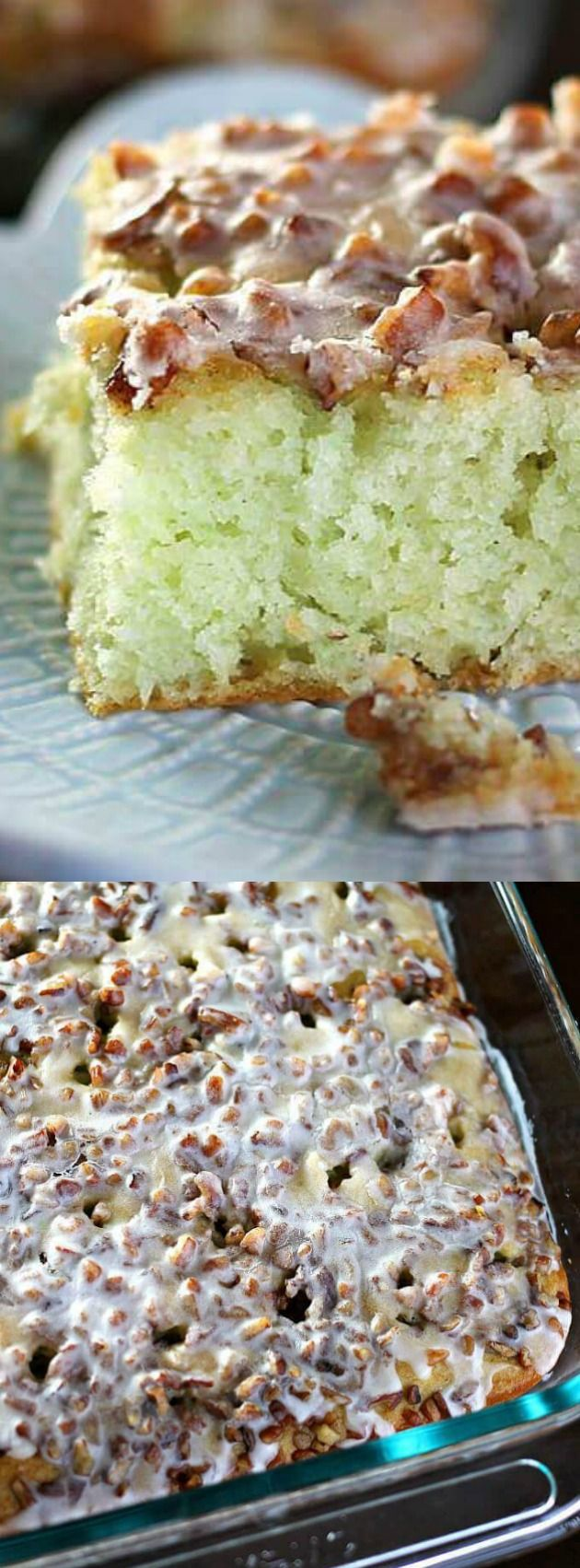 This Pistachio Poke Cake recipe from Amanda's Cookin starts with a cake mix and is so incredibly easy and always a crowd pleaser! It's topped with pecans and filled with delicious pistachio pudding that makes this cake simple — yet irresistible!