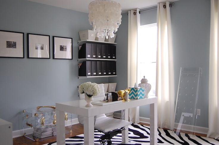 The wall color Home office with blue gray paint color, Benjamin Moore Smoke,
