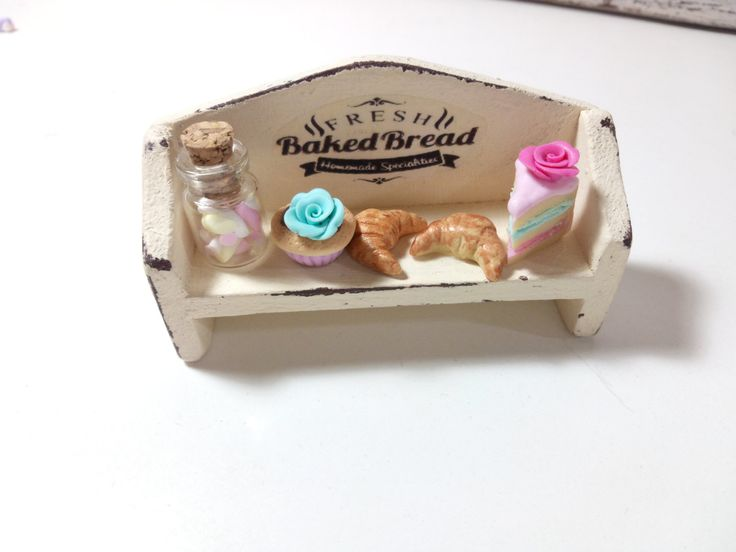 Shabby chic vintage handmade dollhouse bakery shelf with cake,cupcake,croissant,marshmallows jar-Dollhouse miniature in 12th scale furniture by ManthaCreaMiniatures on Etsy