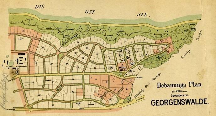План из буклета про Георгенсвальде с нанесенными участками для продажи.