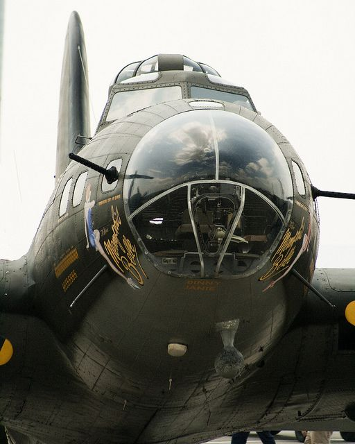 Menacing #photo of the B-17 Memphis Belle (movie version) at the 2010 Vectren Dayton Air Show. #Aviation #Warbird